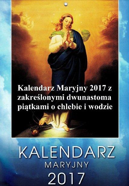 Kalendarz Maryjny 2017 z zakreślonymi dwunastoma piątkami o chlebie i wodzie
